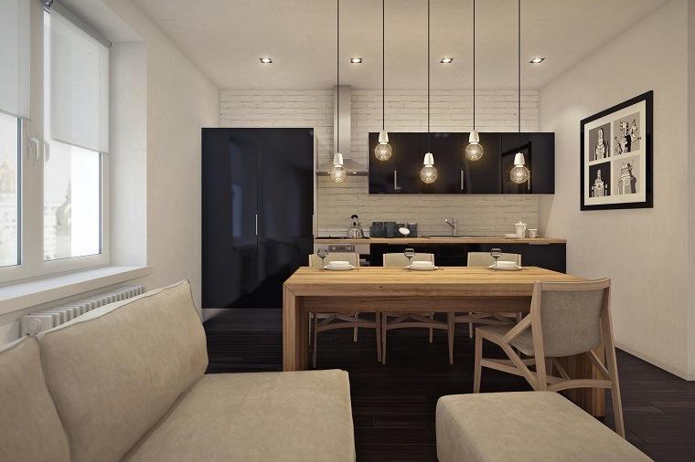 decoracion apartamentos pequeños salón comedor cocina moderna diseño