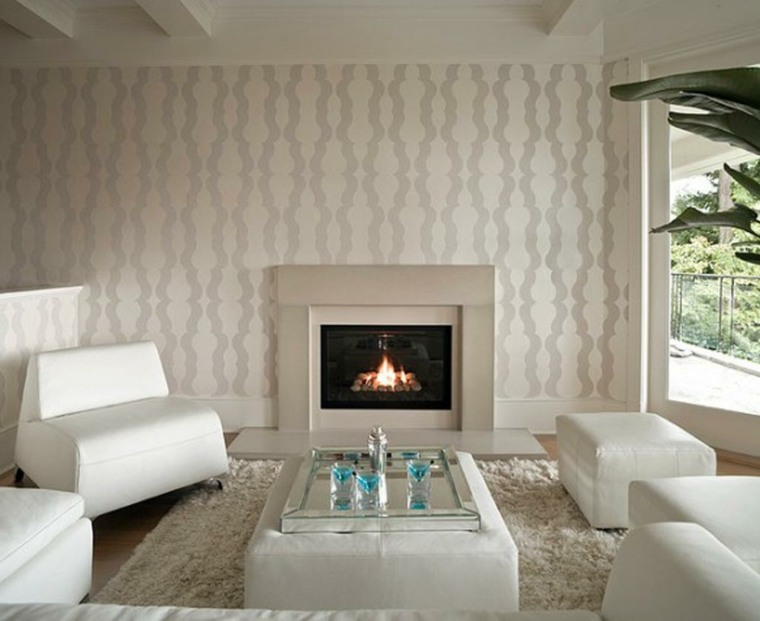 sala estar blanca chimenea pared