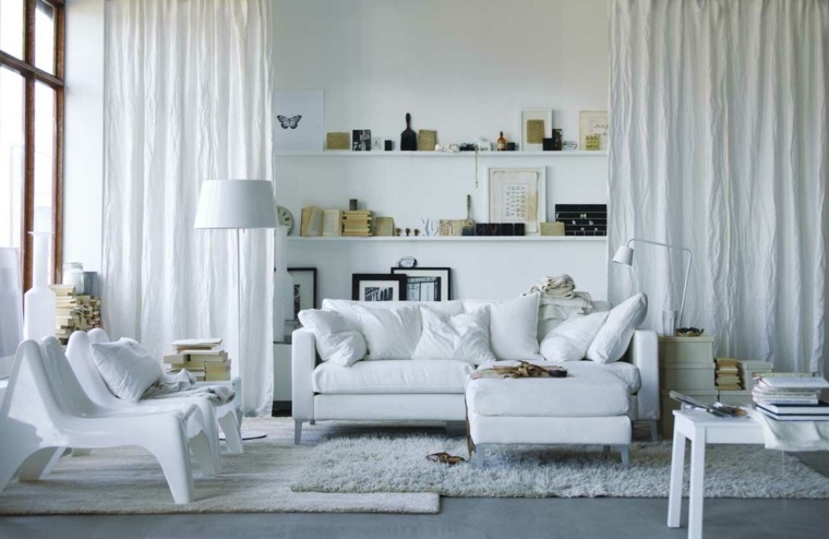 sala estar nórdica muebles blancos