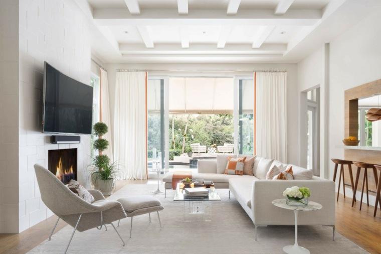 salon amplio moderno chimenea ideas