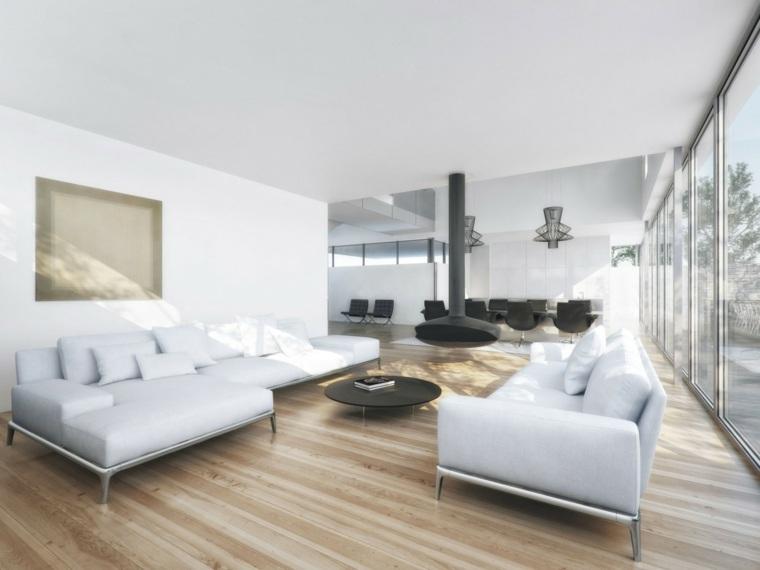 Decoracion salon moderno 50 dise os en blanco y madera for Cortinas salon blanco y gris