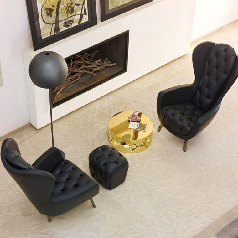 salon chimenea muebles negros cuero preciosos ideas