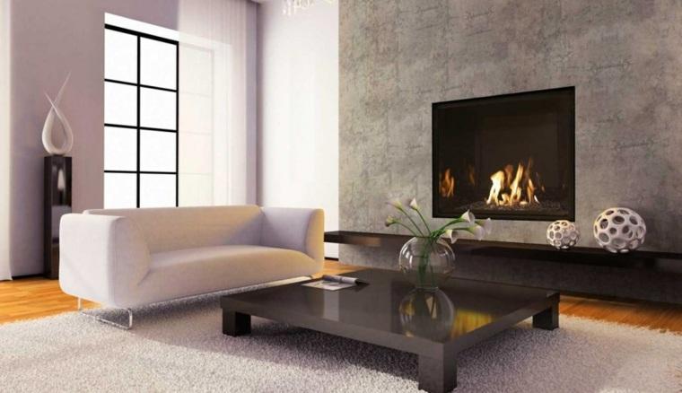salón chimenea sofa blanco
