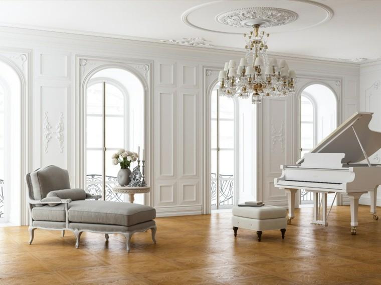 salon clasico piano blanco parquet ideas