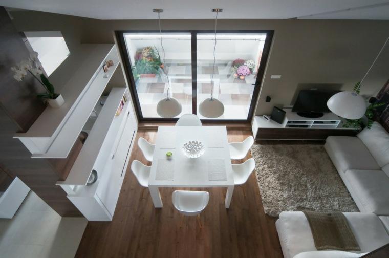 Decoracion salon moderno 50 dise os en blanco y madera - Cocina salon comedor ...