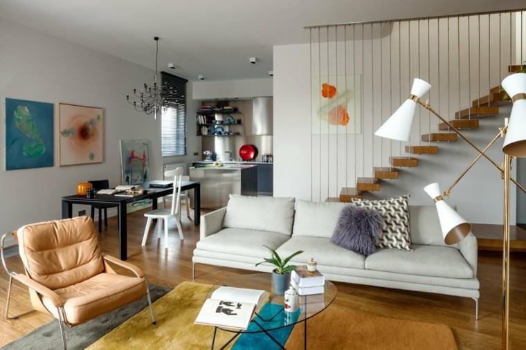 salon decoracion moderna alfombra colorida ideas