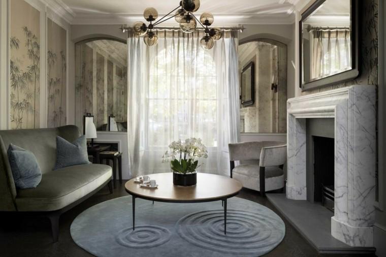 salon decoracion moderna alfombra forma circular ides