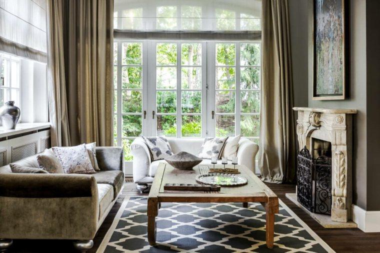 salon decoracion moderna alfombra mesa madera ideas