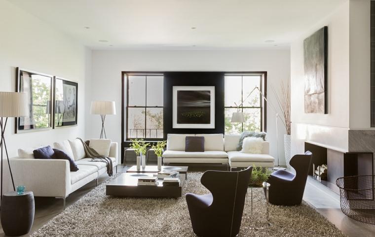 salon decoracion moderna blanco negro ideas