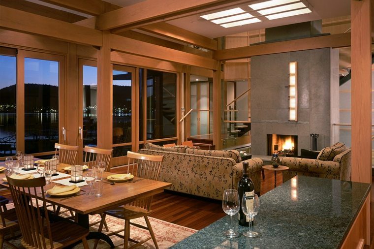 salon decoracion moderna chimenea abierto comedor ideas