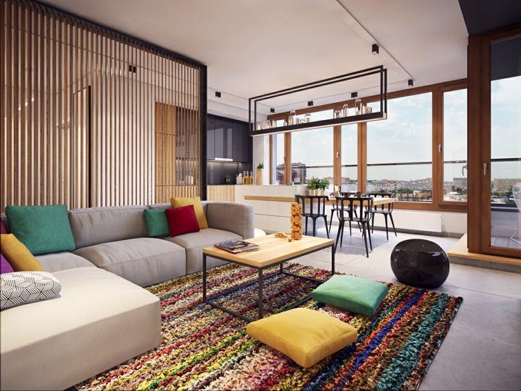 salon decoracion moderna cojines alfombra colores - Decoracion Moderna