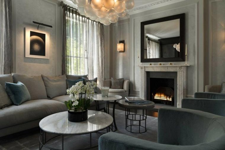 salones decoracion moderna espejo chimenea ideas
