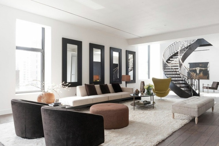 salones decoracion moderna espejos decorando pared ideas