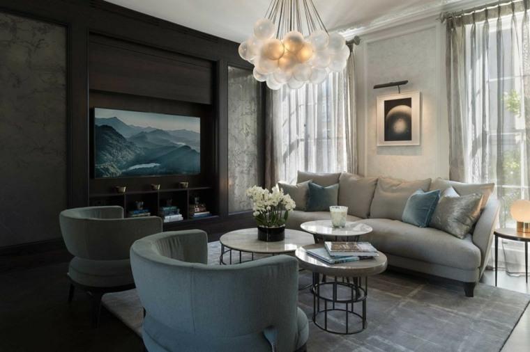 salones decoracion moderna lampara blanca preciosa ideas