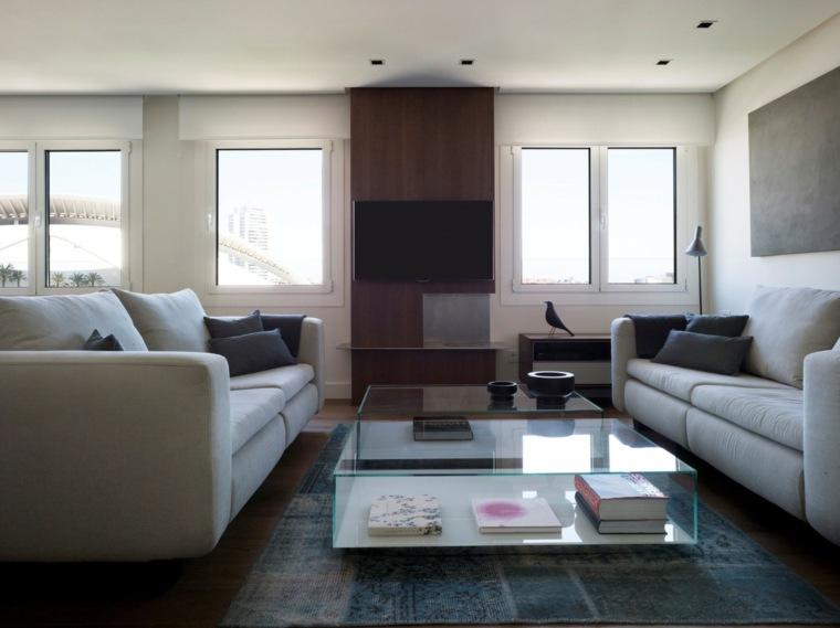 salones decoracion moderna mesa cristal ideas