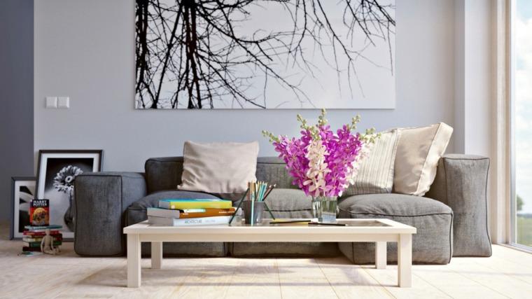 salones decoracion moderna mesita cafe madera flores ideas