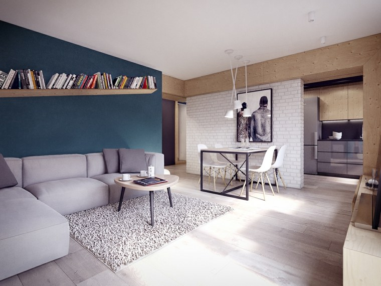salones decoracion moderna pared azul muebles grices ideas