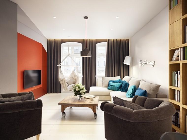 salones decoracion moderna pared rojo vibrante ideas