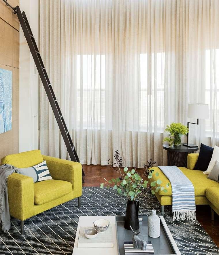 salones decoracion moderna pequeno mueblea amarillos ideas