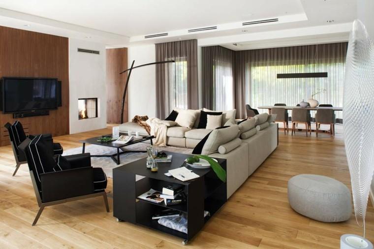 salones decoracion moderna sillones negros ideas