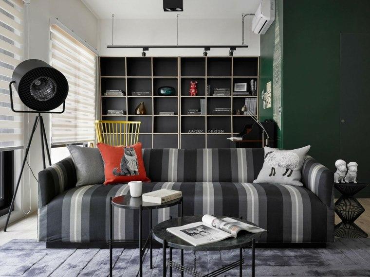 salones decoracion moderna sofa blanco negro original ideas