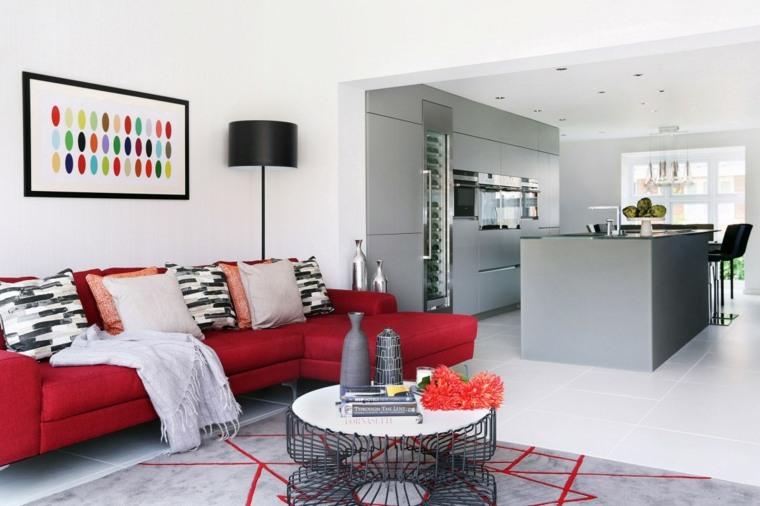salones decoracion moderna sofa rojo ideas