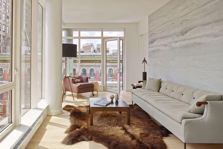 salon estrecho vistas alfombra preciosa paredes blancas ideas