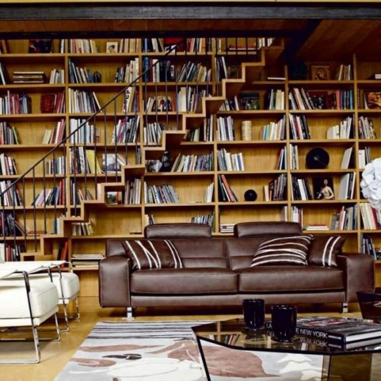 salon libros moderno sofa piel