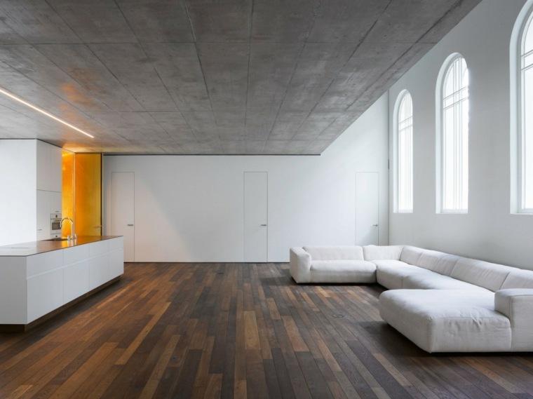Decoracion salon moderno 50 dise os en blanco y madera for Salones minimalistas de diseno