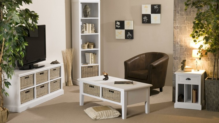 salon moderno muebles madera blanca ideas