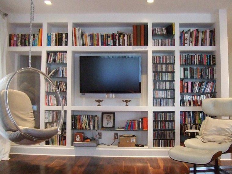 salon moderno biblioteca silla colgante