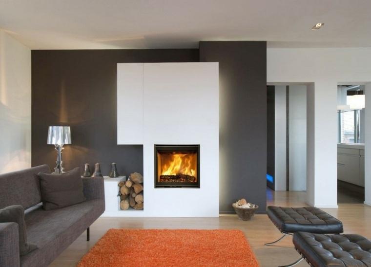 Salones con chimenea moderna 50 interiores c lidos - Chimeneas para salon ...