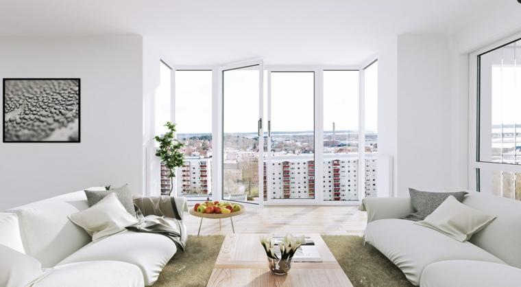 salon pequeño bonitas vistas blanco