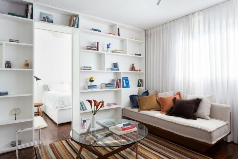 salones pequeno decoracion moderna estantes ideas