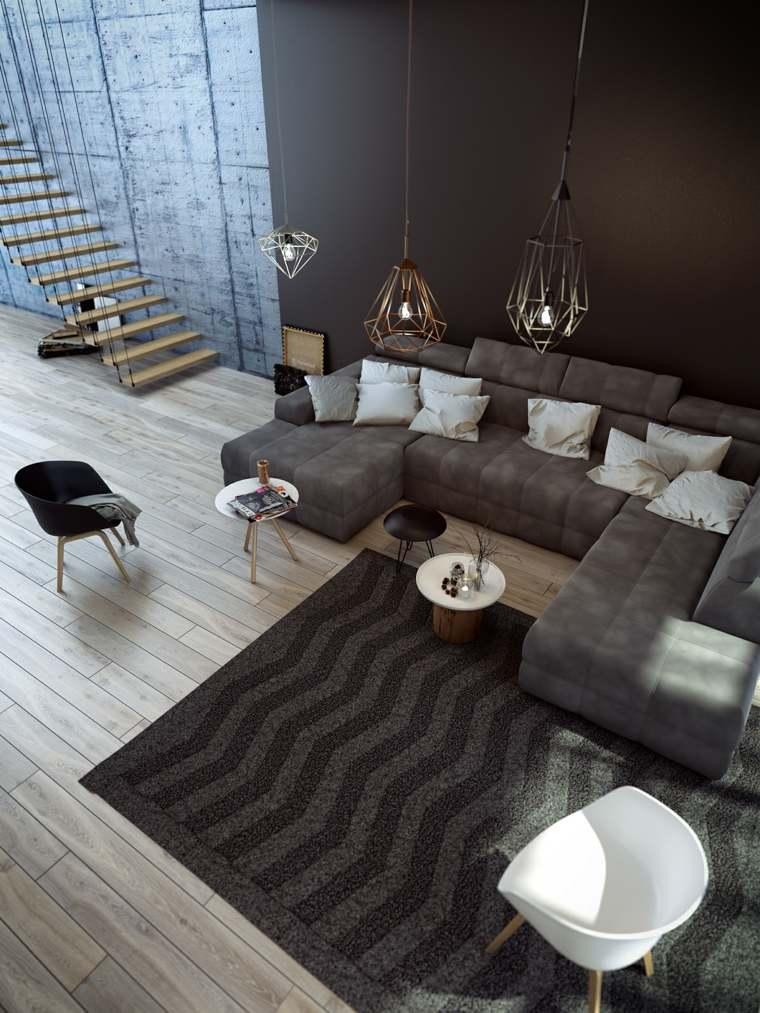 salones clasicos modernos distintos disenos alfombra negra grande ideas