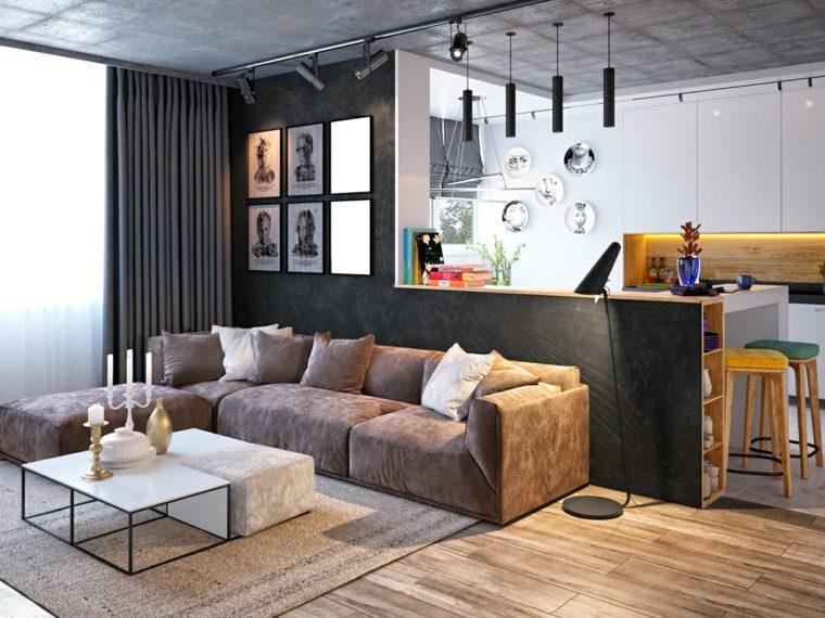 Salones clasicos modernos contempor neos y m s for Barras modernas para living