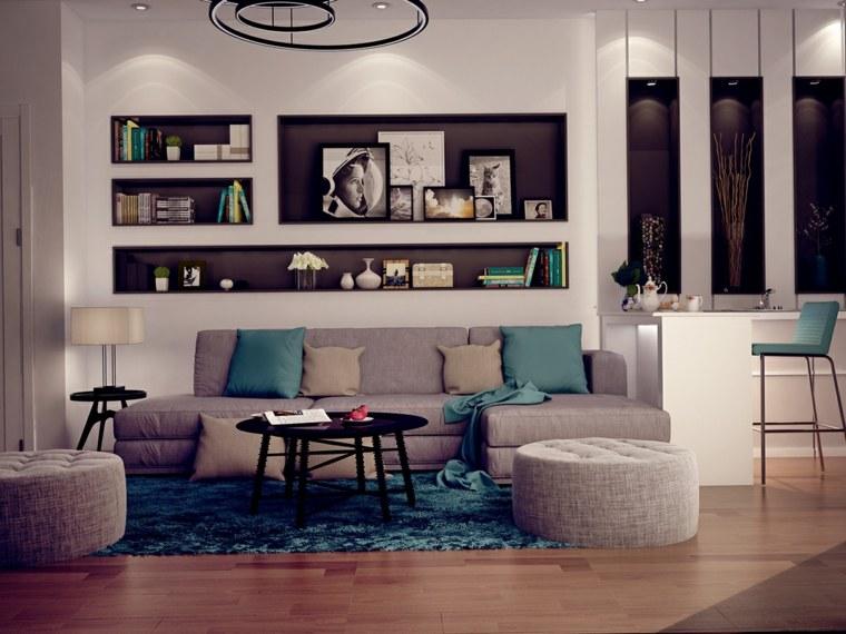 salones clasicos modernos distintos disenos combinacion gris azul ideas