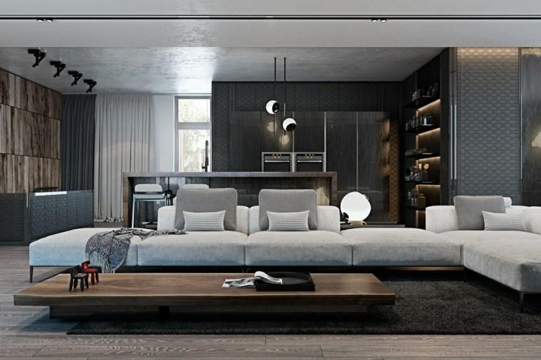 salon modernos distintos disenos mesa madera ideas - Salones Clasicos Modernos