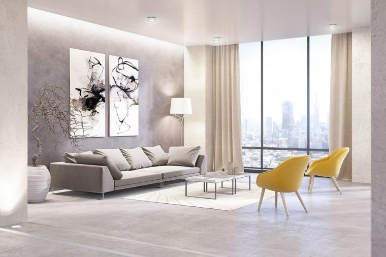 salones modernos distintos disenos sillones amarillos ideas