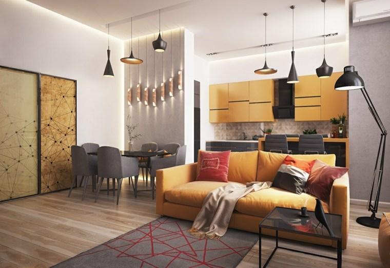 salones modernos distintos disenos sofa amarilla ideas