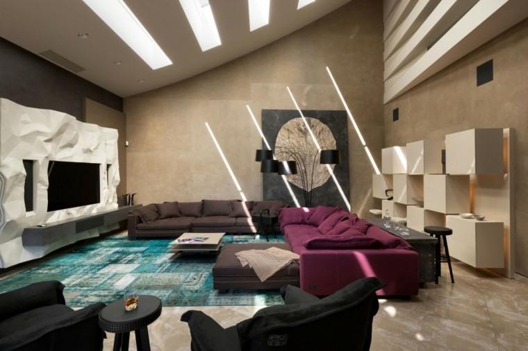 salones modernos distintos disenos sofa purpura ideas
