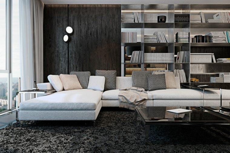 salones clasicos modernos distintos disenos alfombra negra ideas