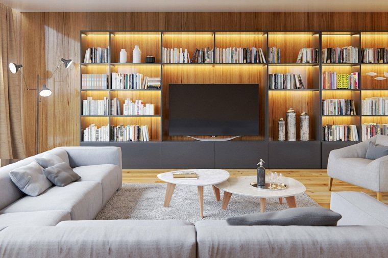 salones clasicos modernos distintos disenos estantes iluminados ideas