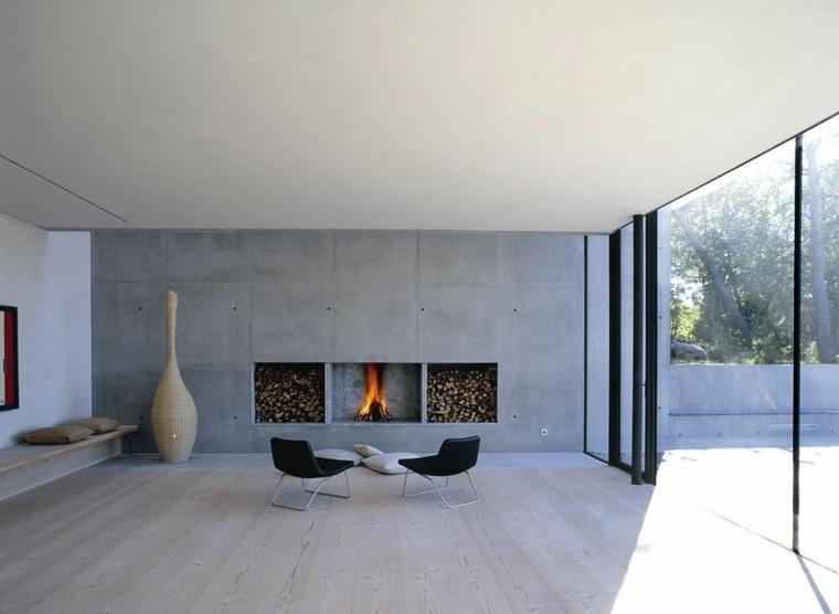 salones con chimenea moderna integrada