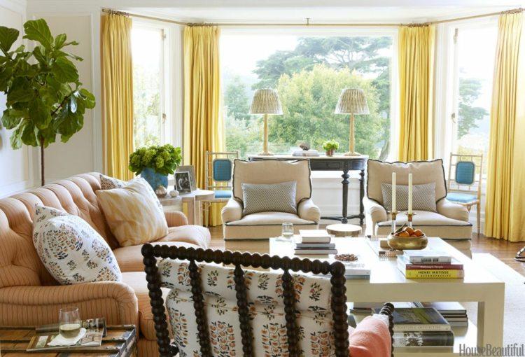 salones pequeños cortinas bandas amarillas