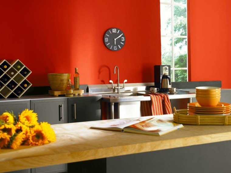 salpicadero cocina pared pintura roja