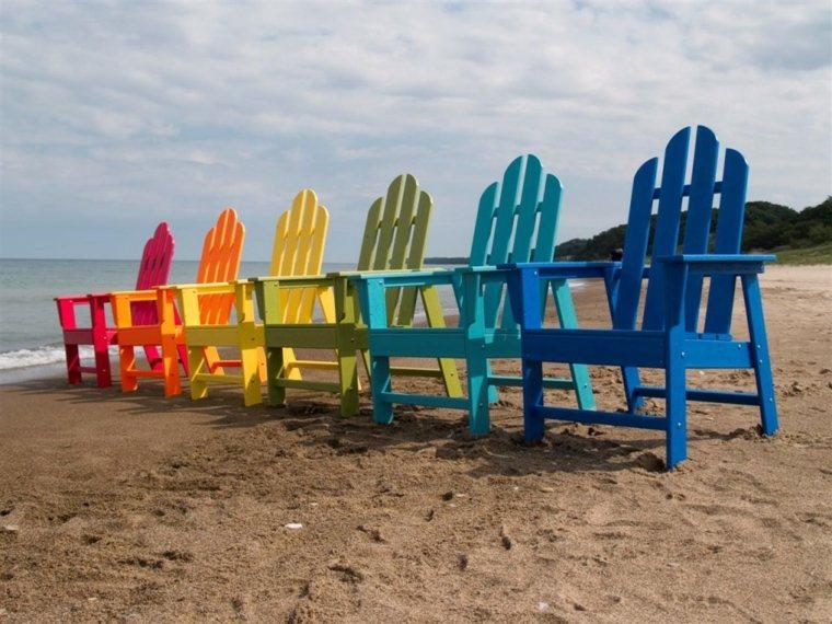 sillas palet madera colores