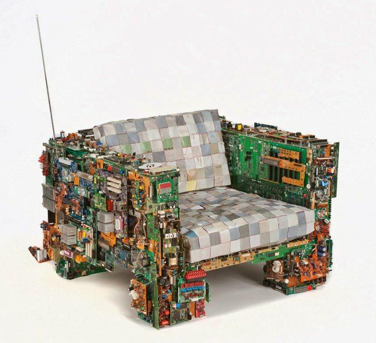 sillon reciclado microchips metal