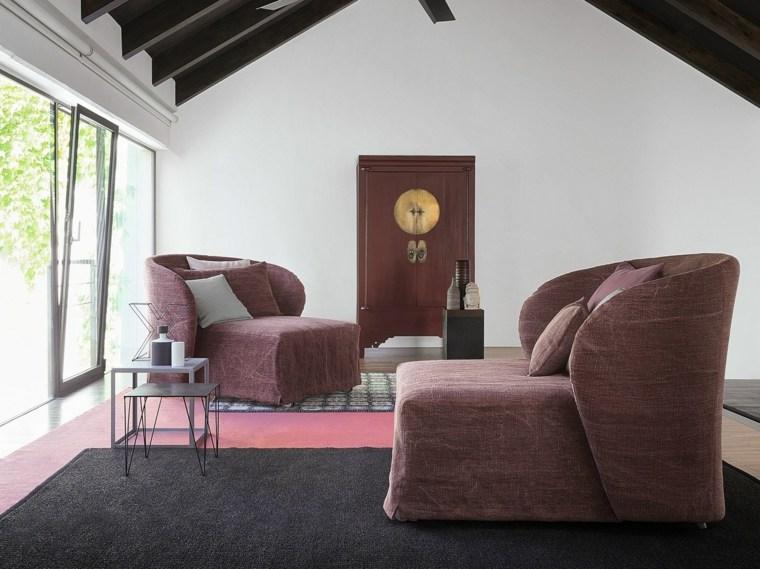 sillones preciosos alfombra negra mesitas bonitas ideas