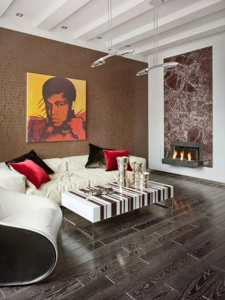 sala estar pared color marron
